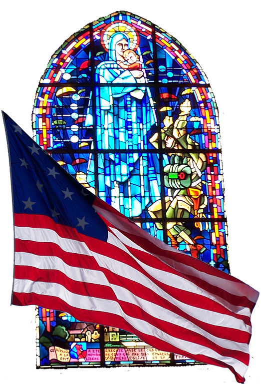 Mary Stained Glass Window US Flag