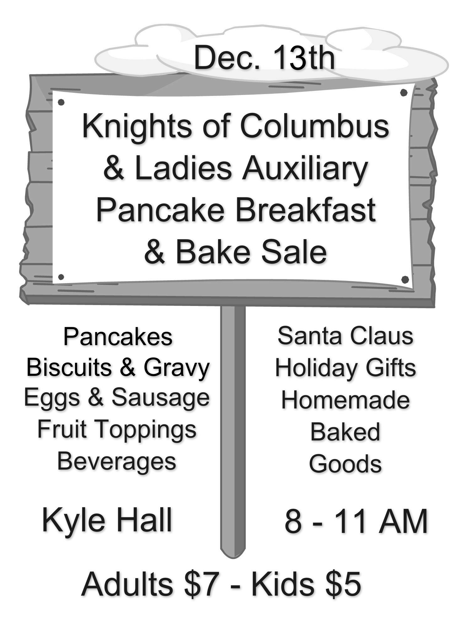 Pancake Breakfast & Bake Sale @ St. John's - Kyle Hall